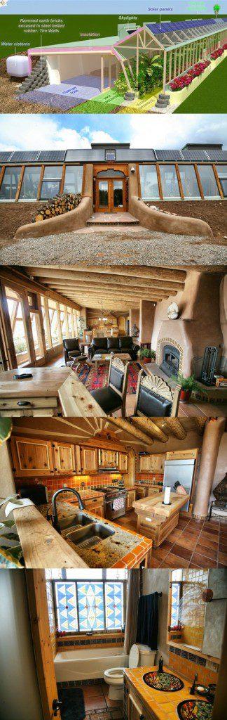 interior e plano de earthship